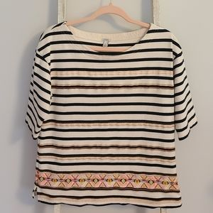J.crew♡ Embroidered striped boho 3/4 sleeve top